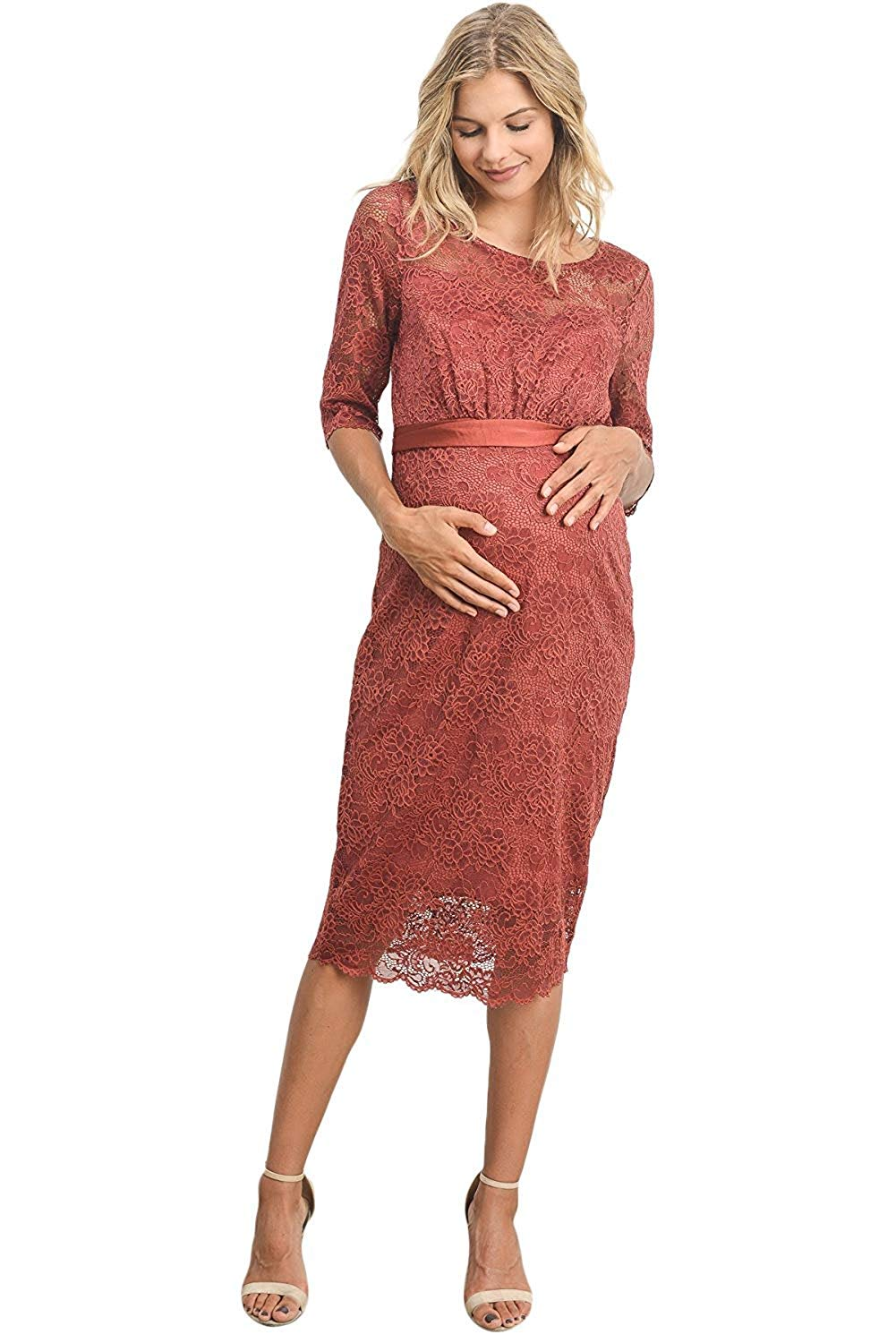 Floral Lace Maternity Dress Rust