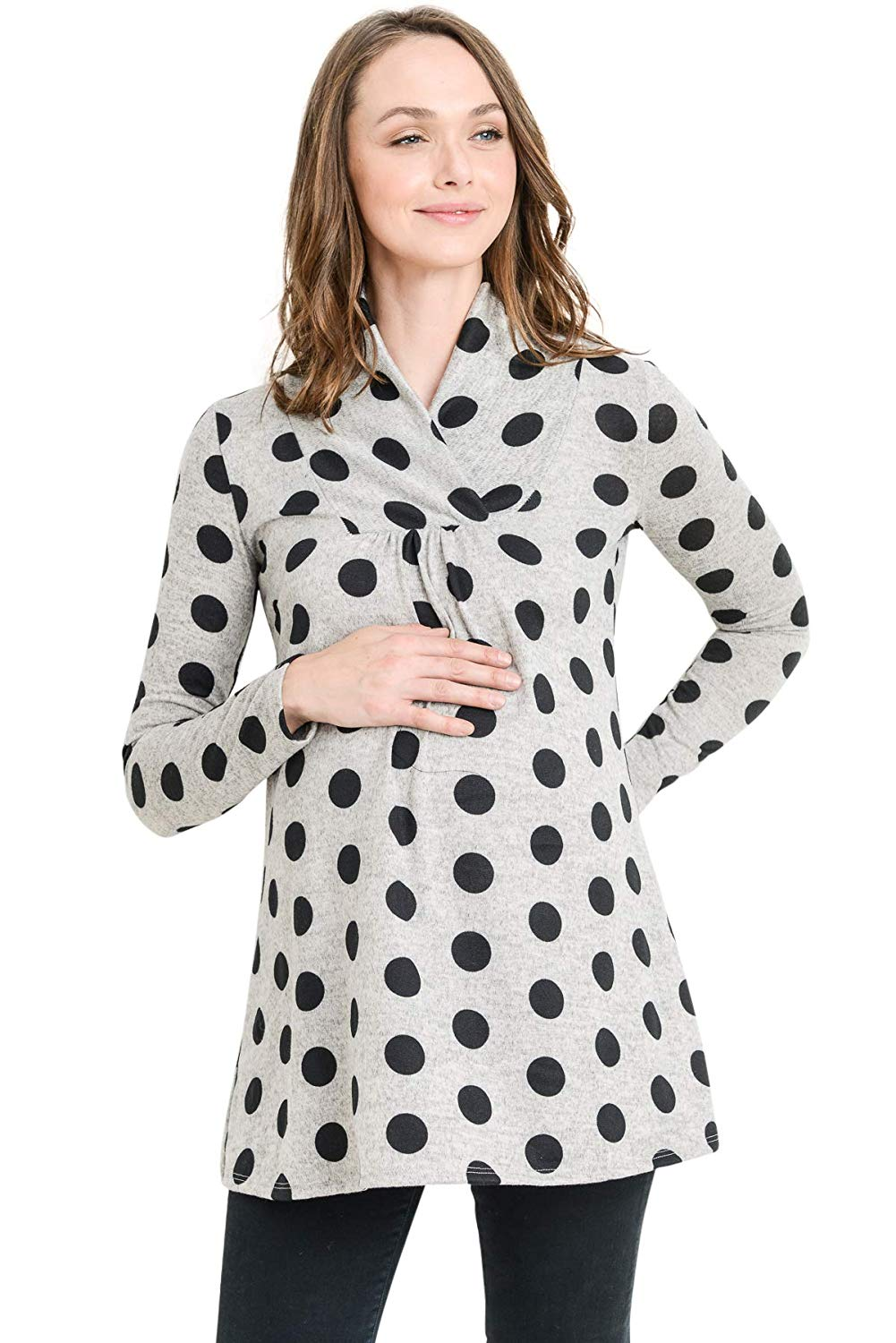 Polka Dot Knit Maternity Tunic Top - Mommylicious