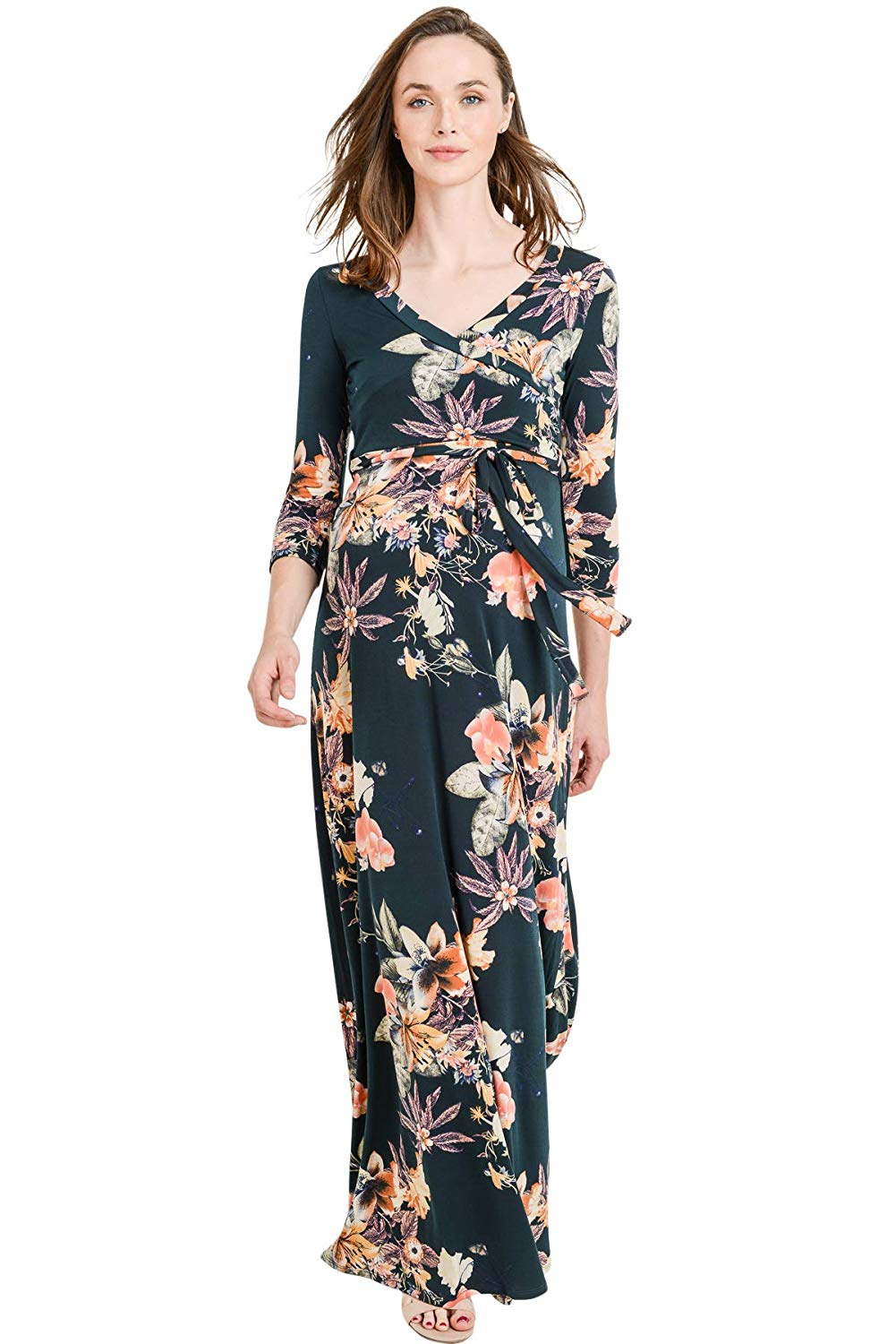 Floral Faux Wrap Maxi Maternity Dress - Mommylicious