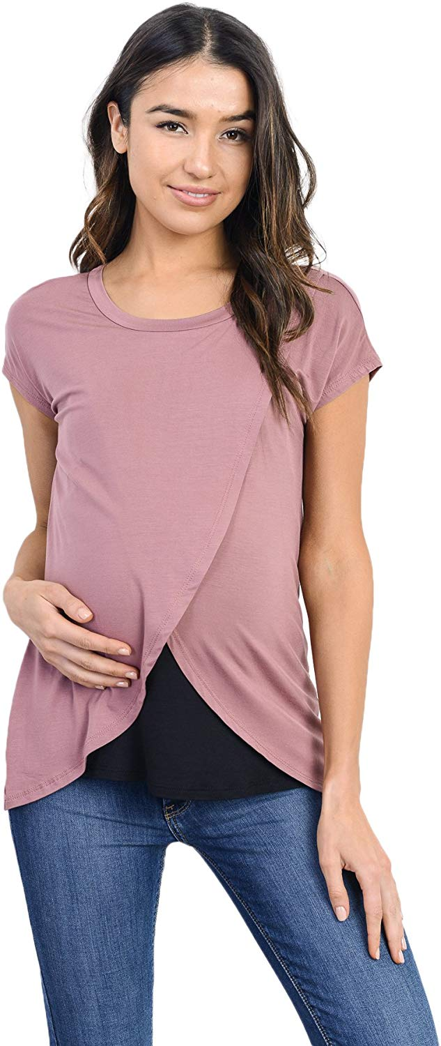 mauve overlay maternity top