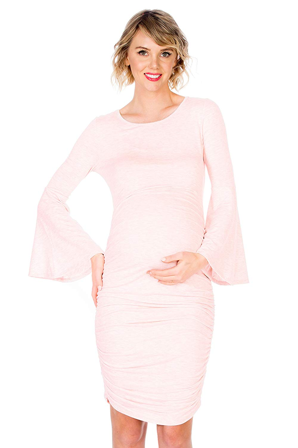 pink bell sleeve maternity bodycon dress