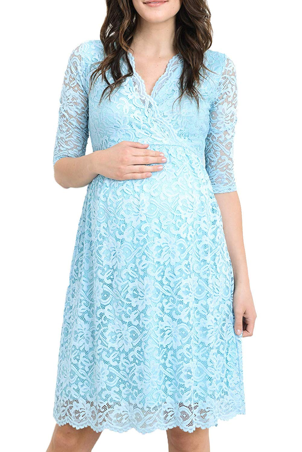 Blue Lace Baby Shower Dress