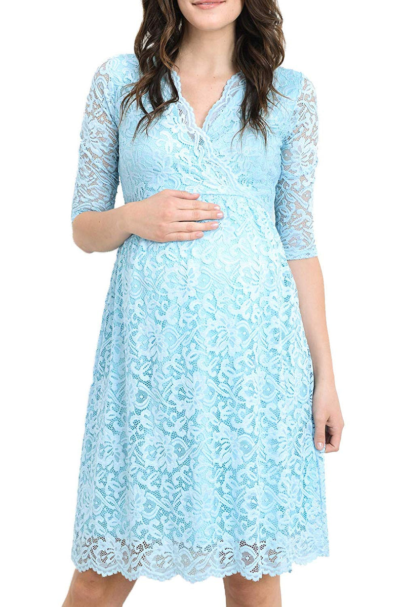 Blue Lace Baby Shower Dress - Mommylicious