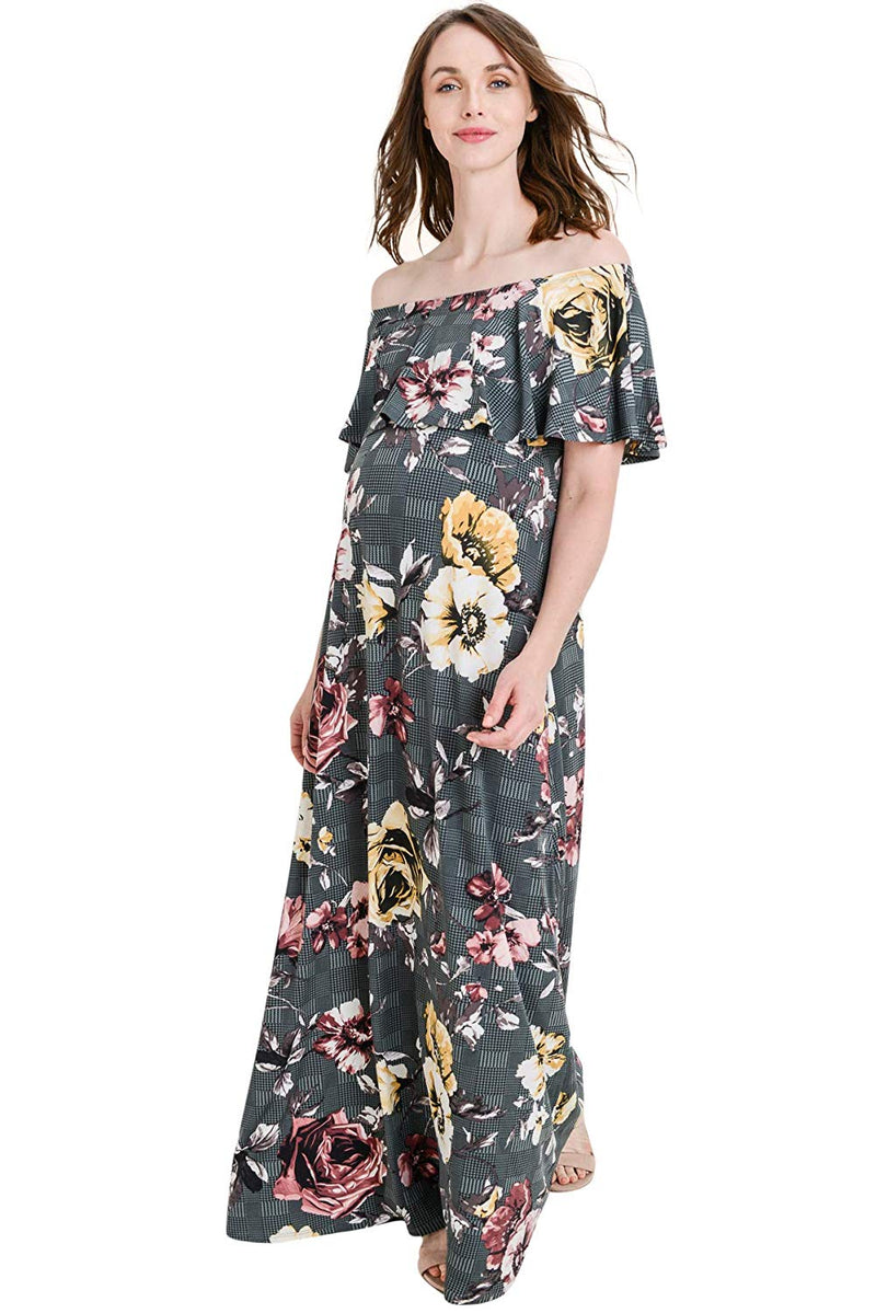 Grey Floral Maternity Maxi Dress - Mommylicious