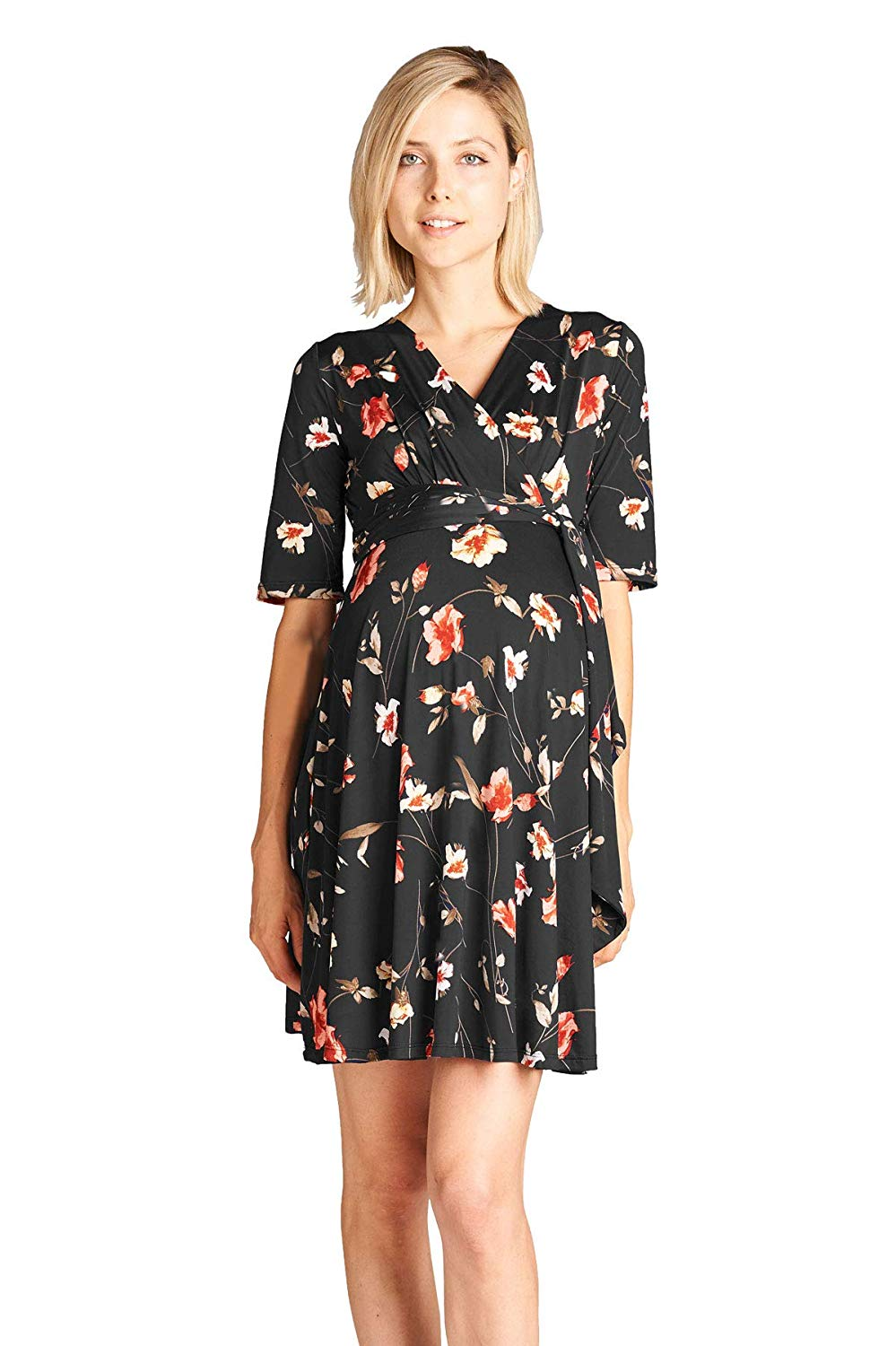 Floral Wrap Maternity Dress - Mommylicious