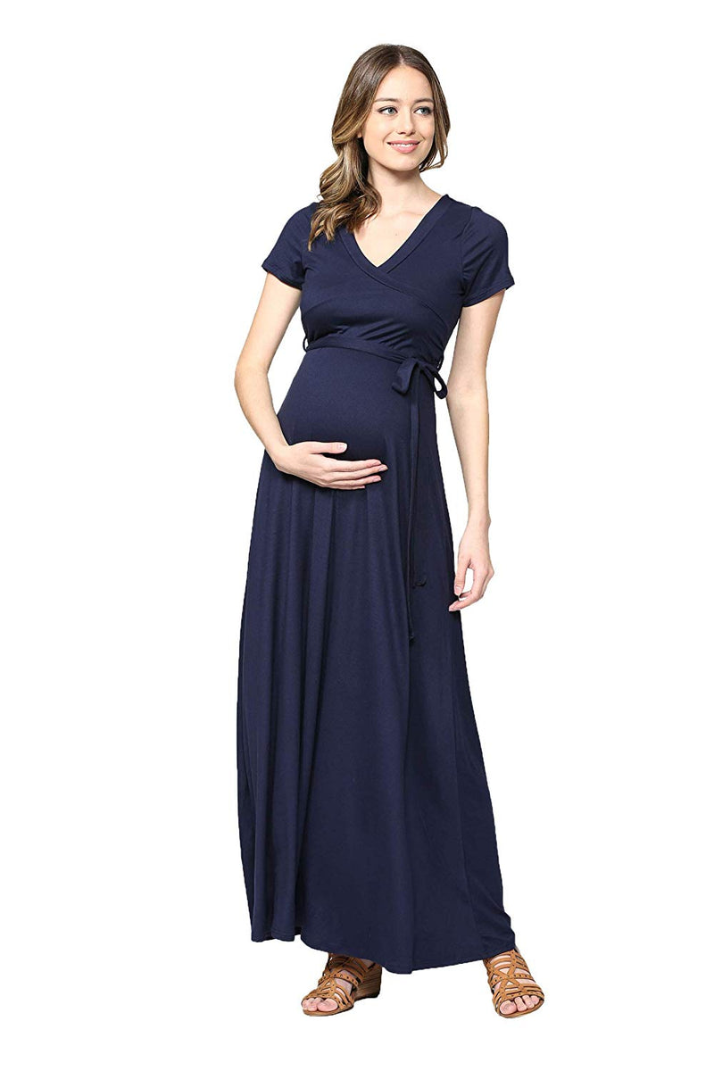 Navy Maxi Maternity Dress with Belt - Mommylicious