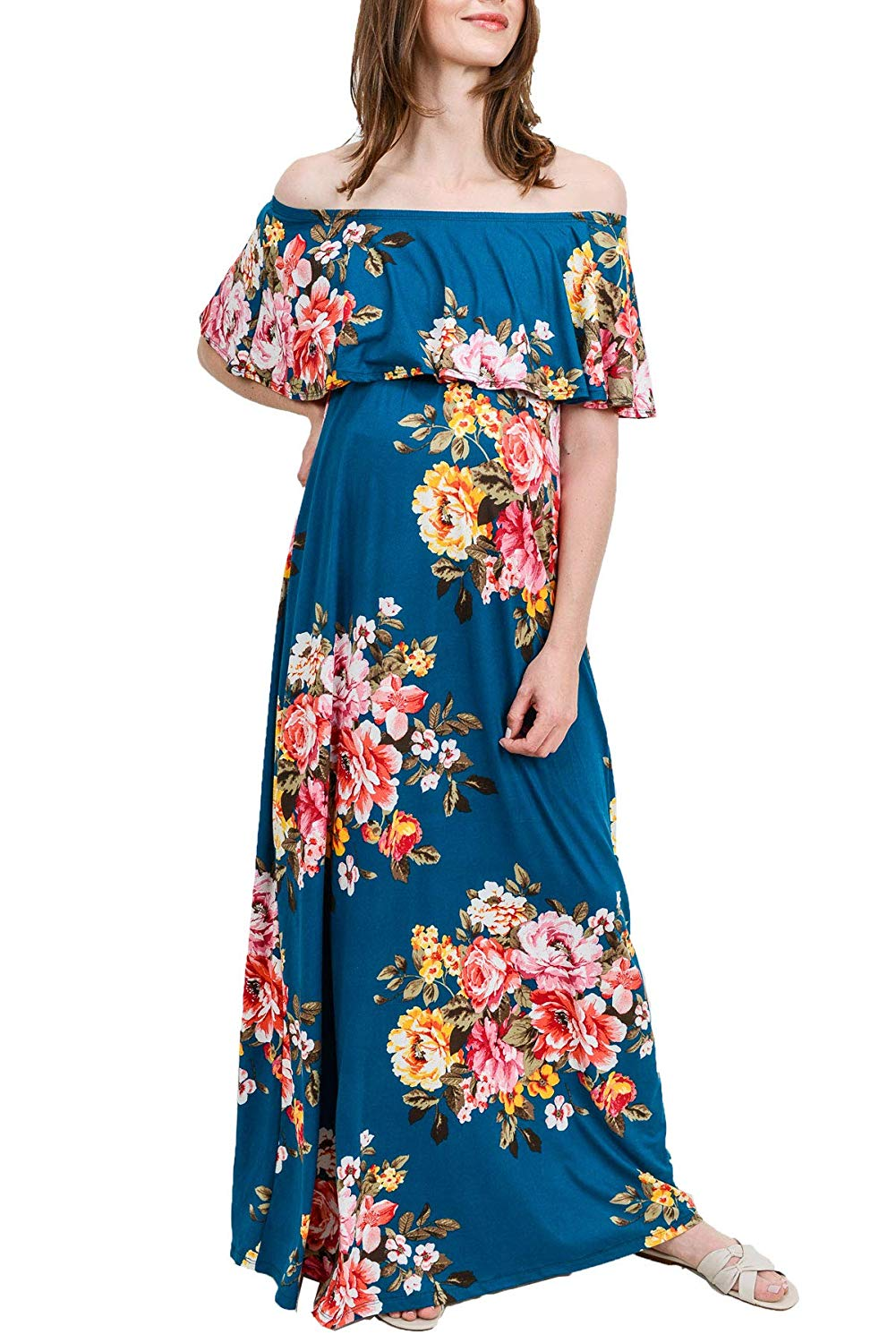 Ruffle Off The Shoulder Maxi Maternity Dress Teal Flower
