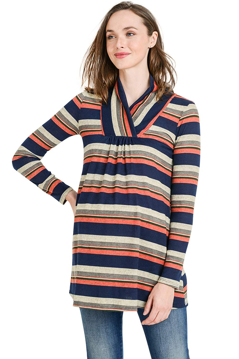Stripes Long Sleeve Maternity Tunic Top