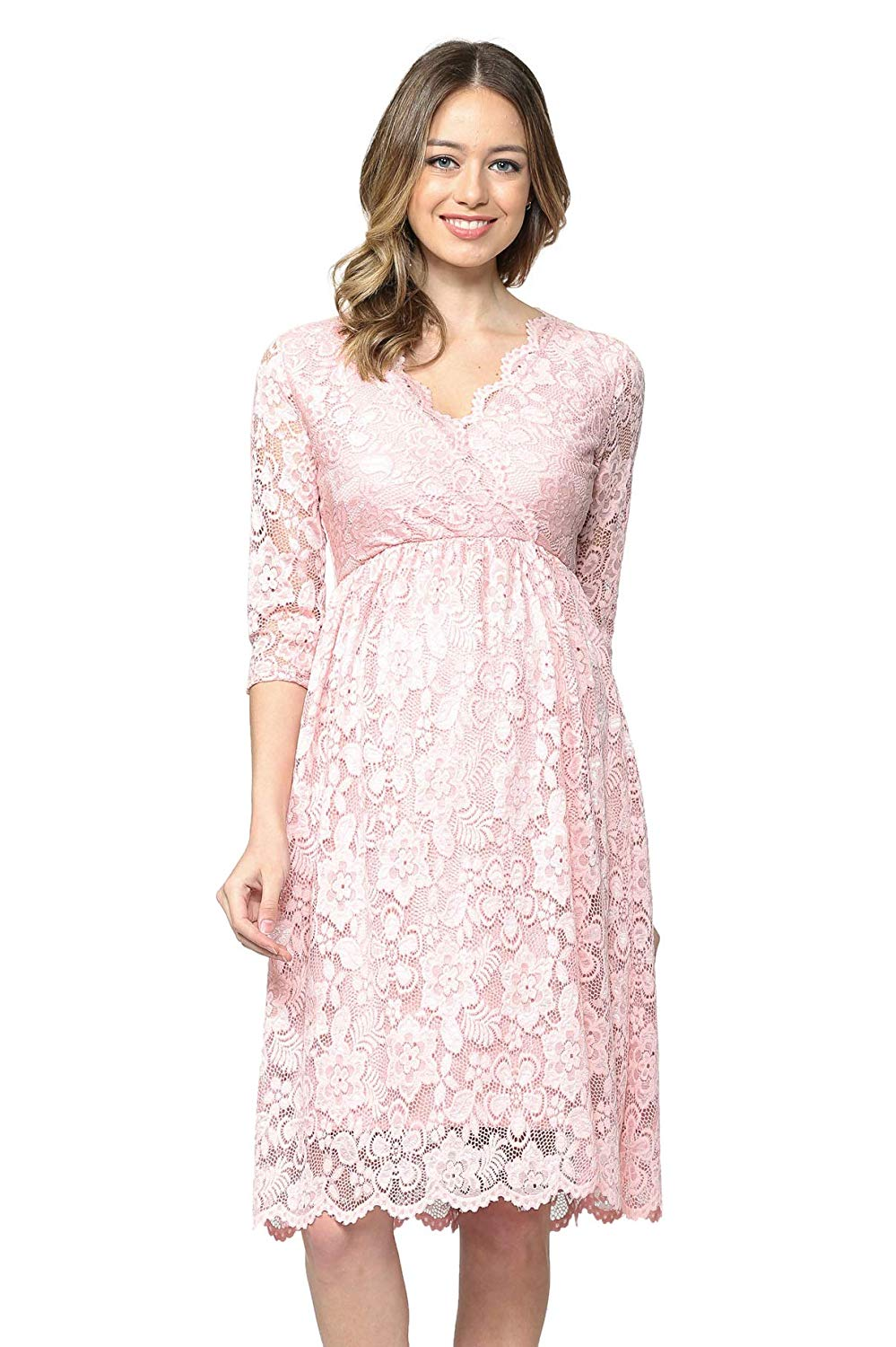 Scalloped Pink Lace Baby Shower Dress