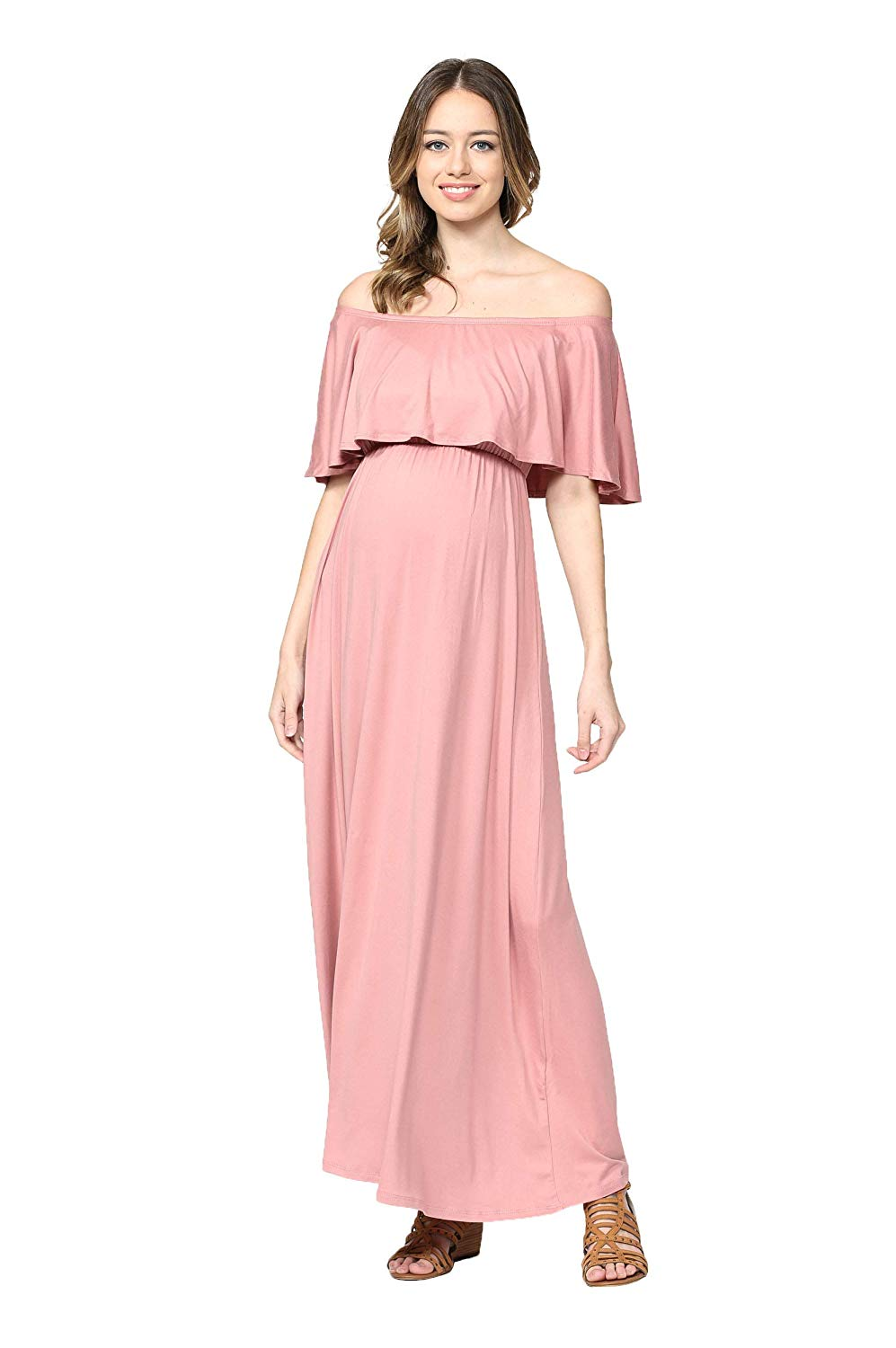 Peach Baby Maternity Maxi Dress