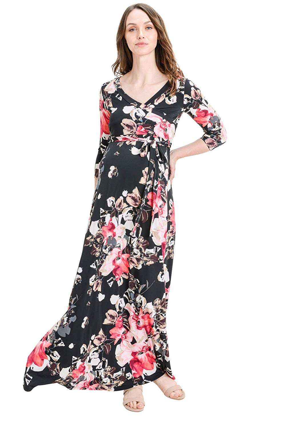 Wrap Maxi Maternity Dress with Belt - Mommylicious