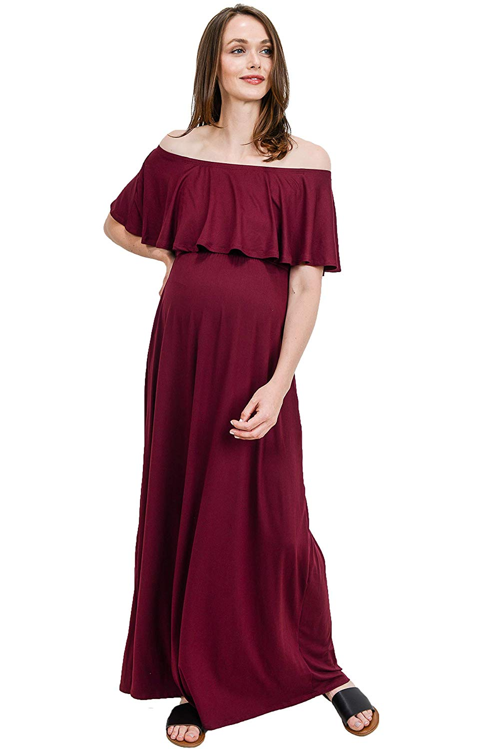 Burgundy Red Maternity Maxi Dress