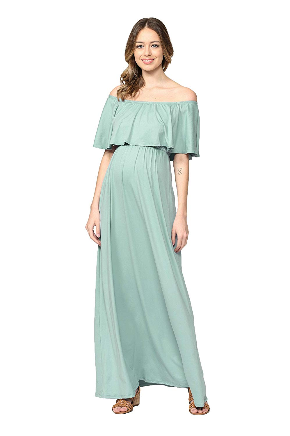 Ruffle Off The Shoulder Maxi Maternity Dress Sage Solid