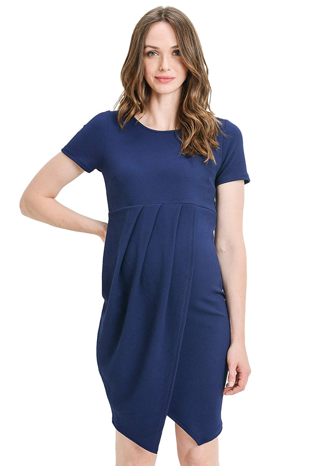 navy midi maternity dress with front slit