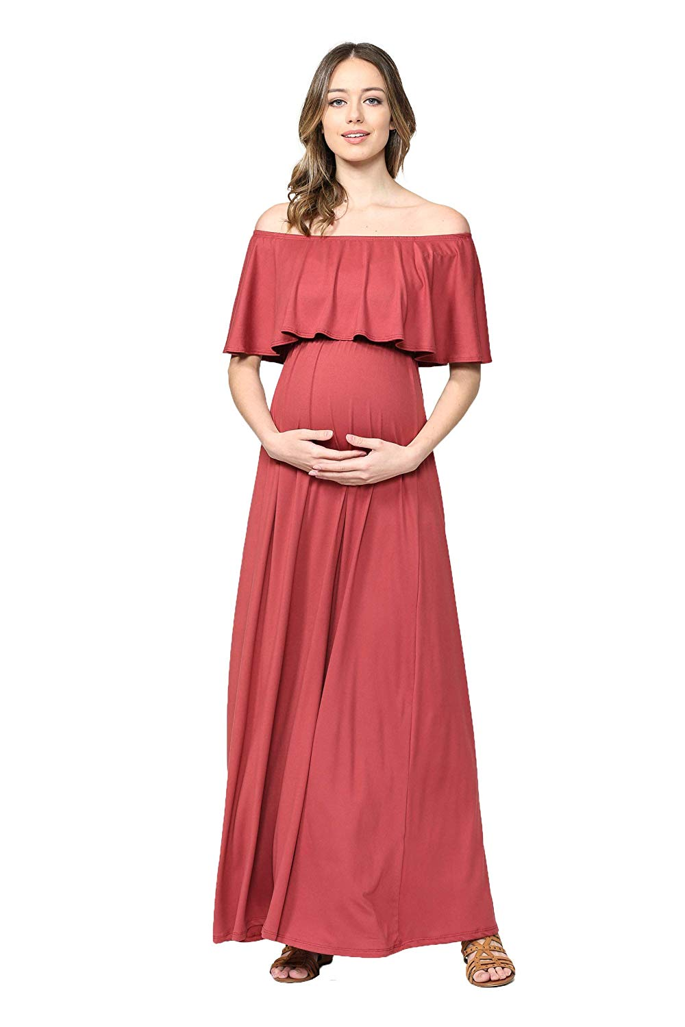 Rust Maternity Maxi Dress