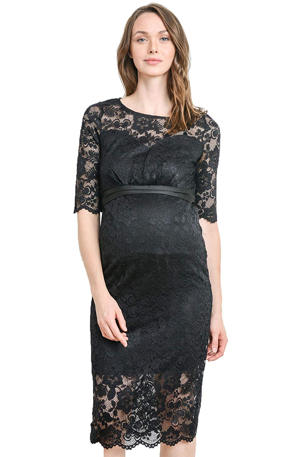 Black Floral Lace Maternity Dress