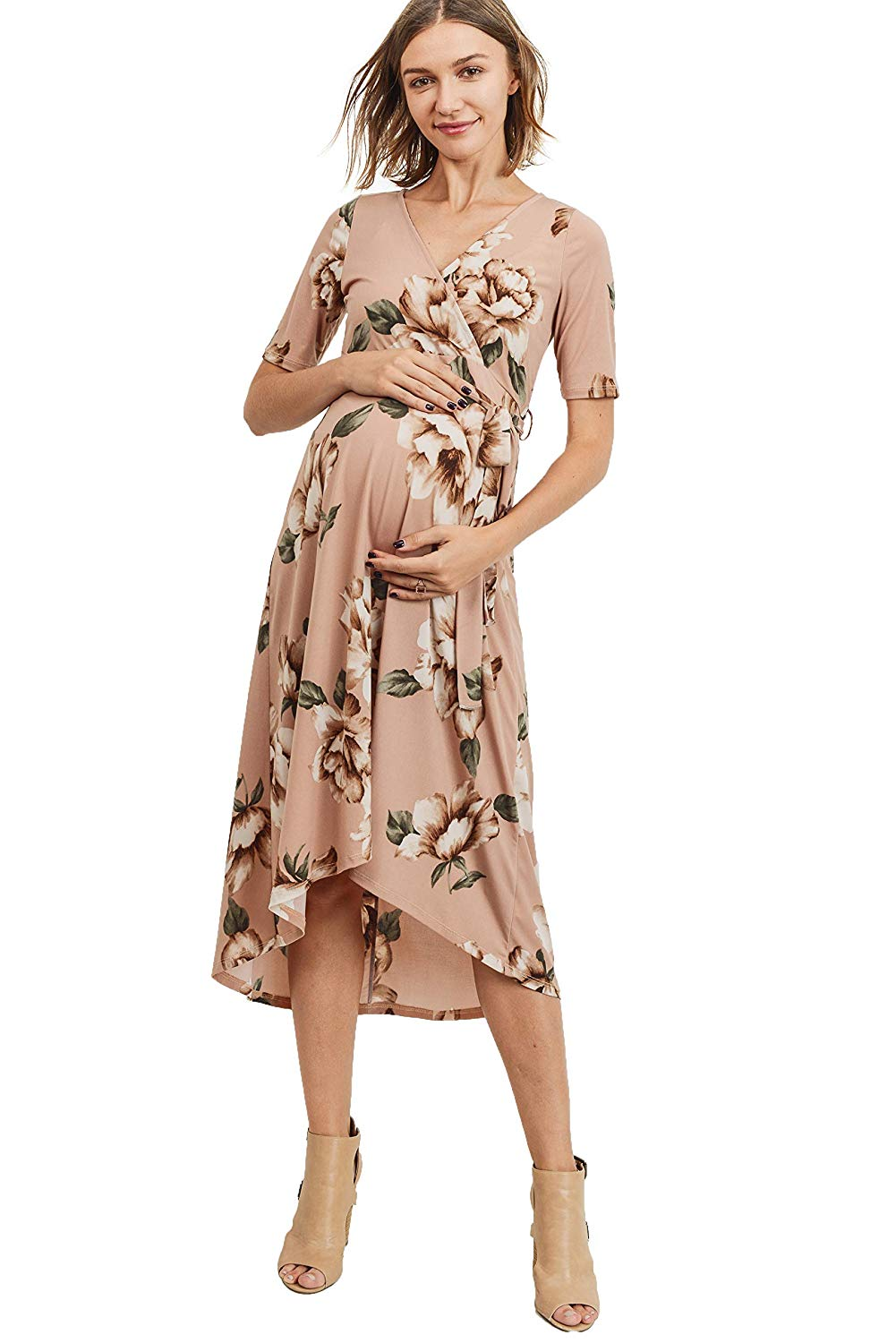 Floral Wrap Maternity Dress with Waist Belt - Mommylicious