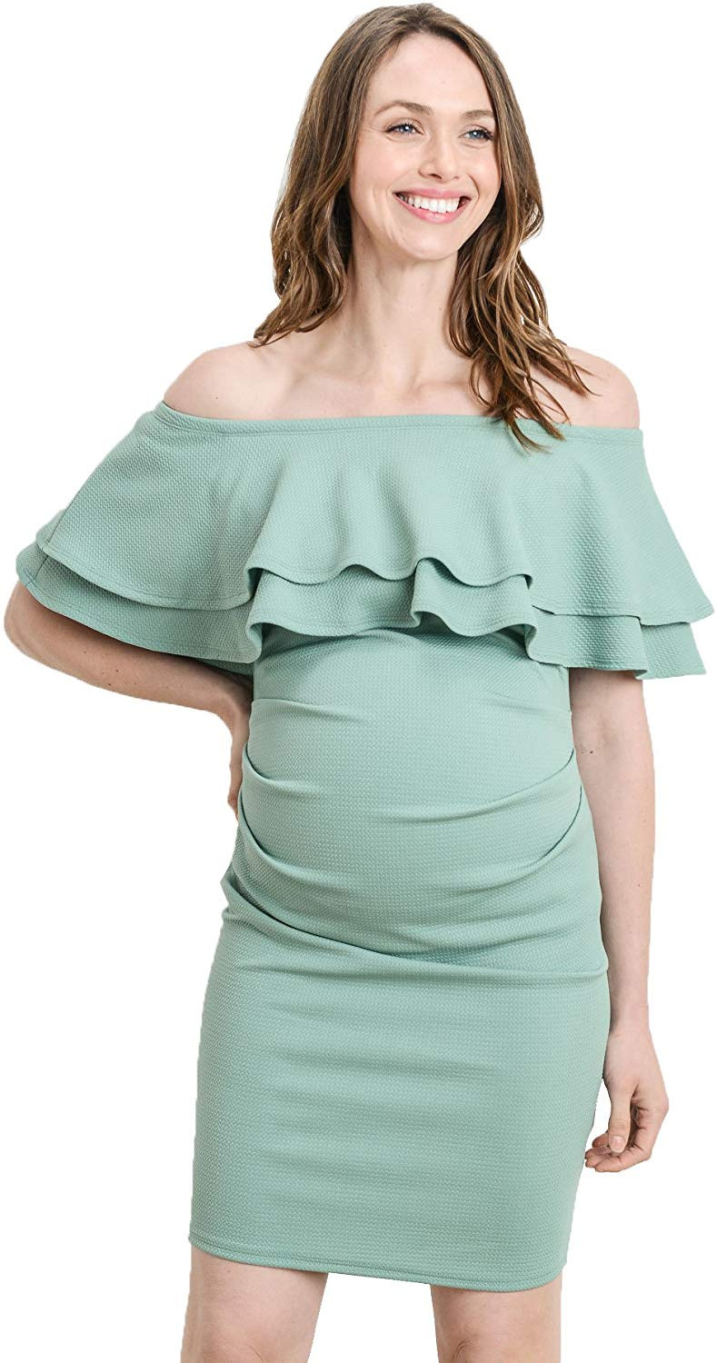 Sage Off Shoulder Maternity Dress - Mommylicious