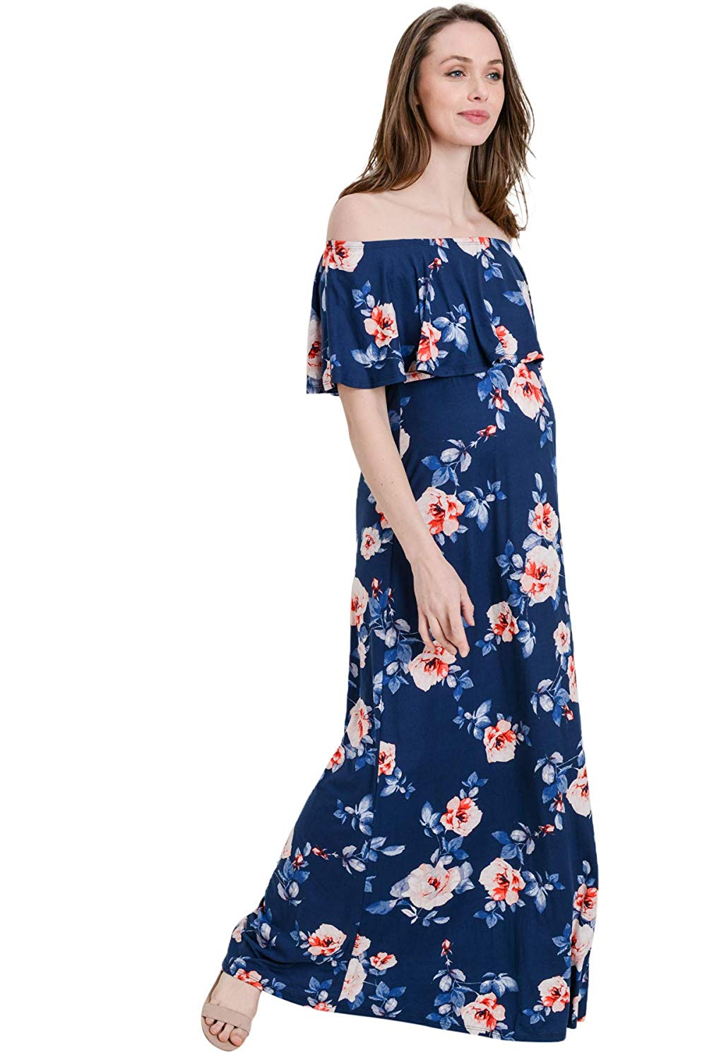 Ruffle Off The Shoulder Maxi Maternity Dress  Navy/Blush