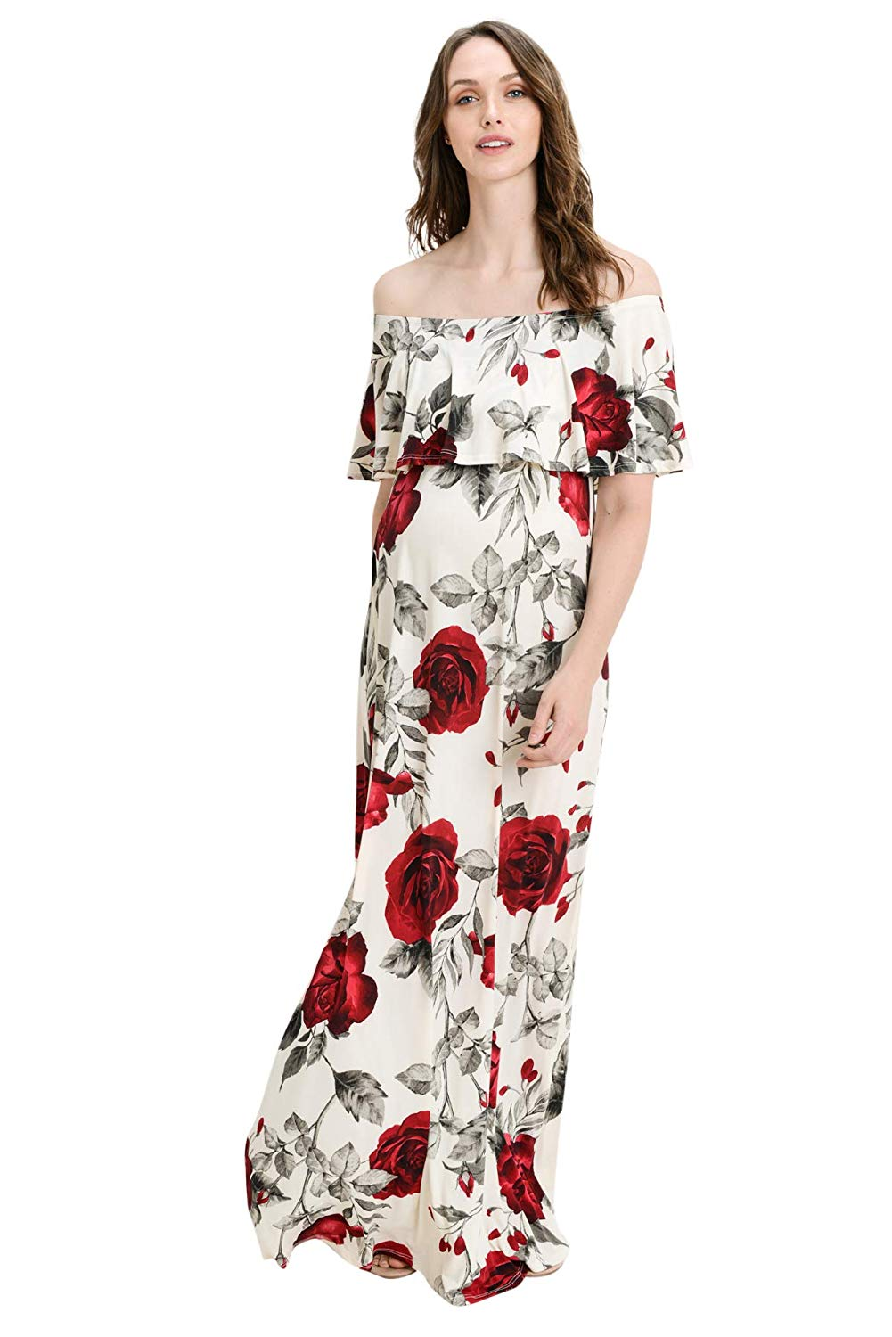 Rose Print Maternity Maxi Dress