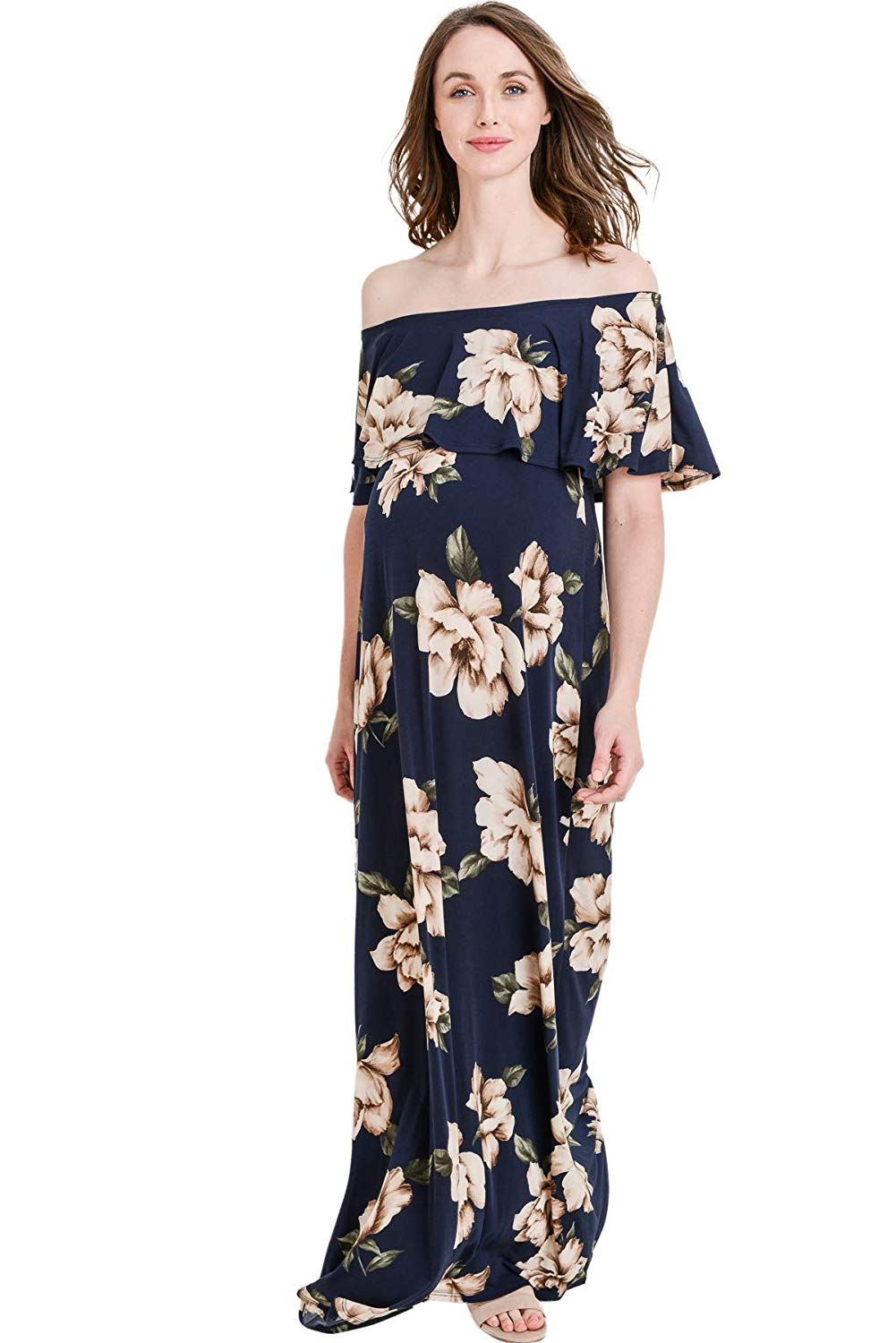 Navy Floral Maternity Maxi - Mommylicious