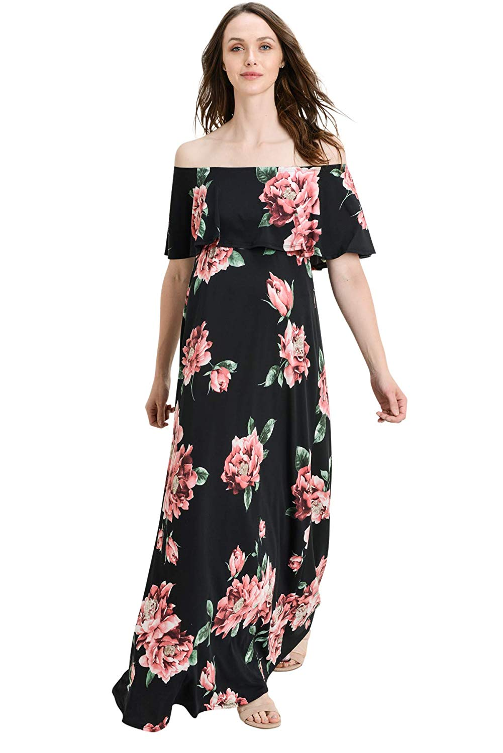 Floral Off The Shoulder Maxi Maternity Dress - Mommylicious