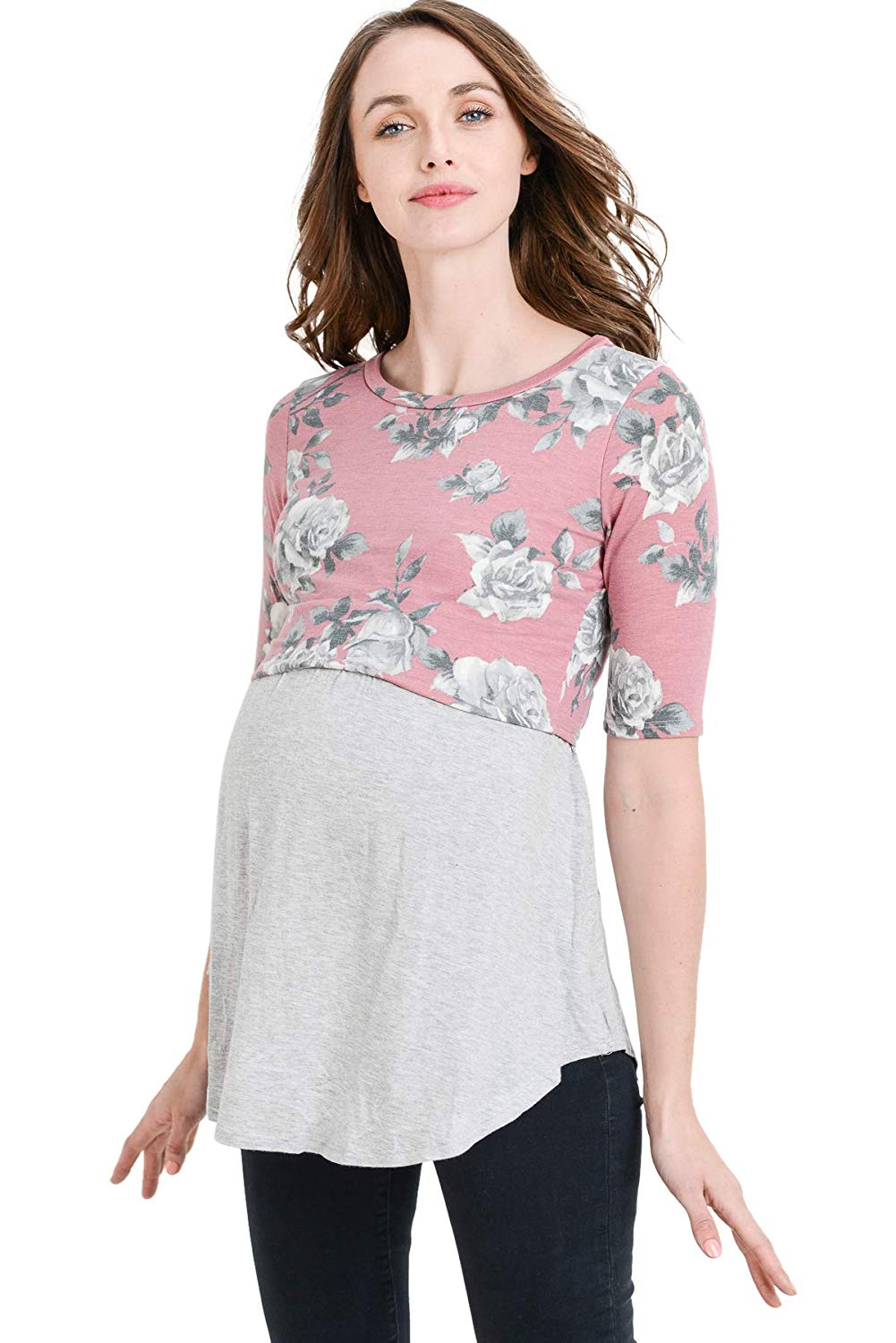 Floral Maternity and Nursing Tunic Top
