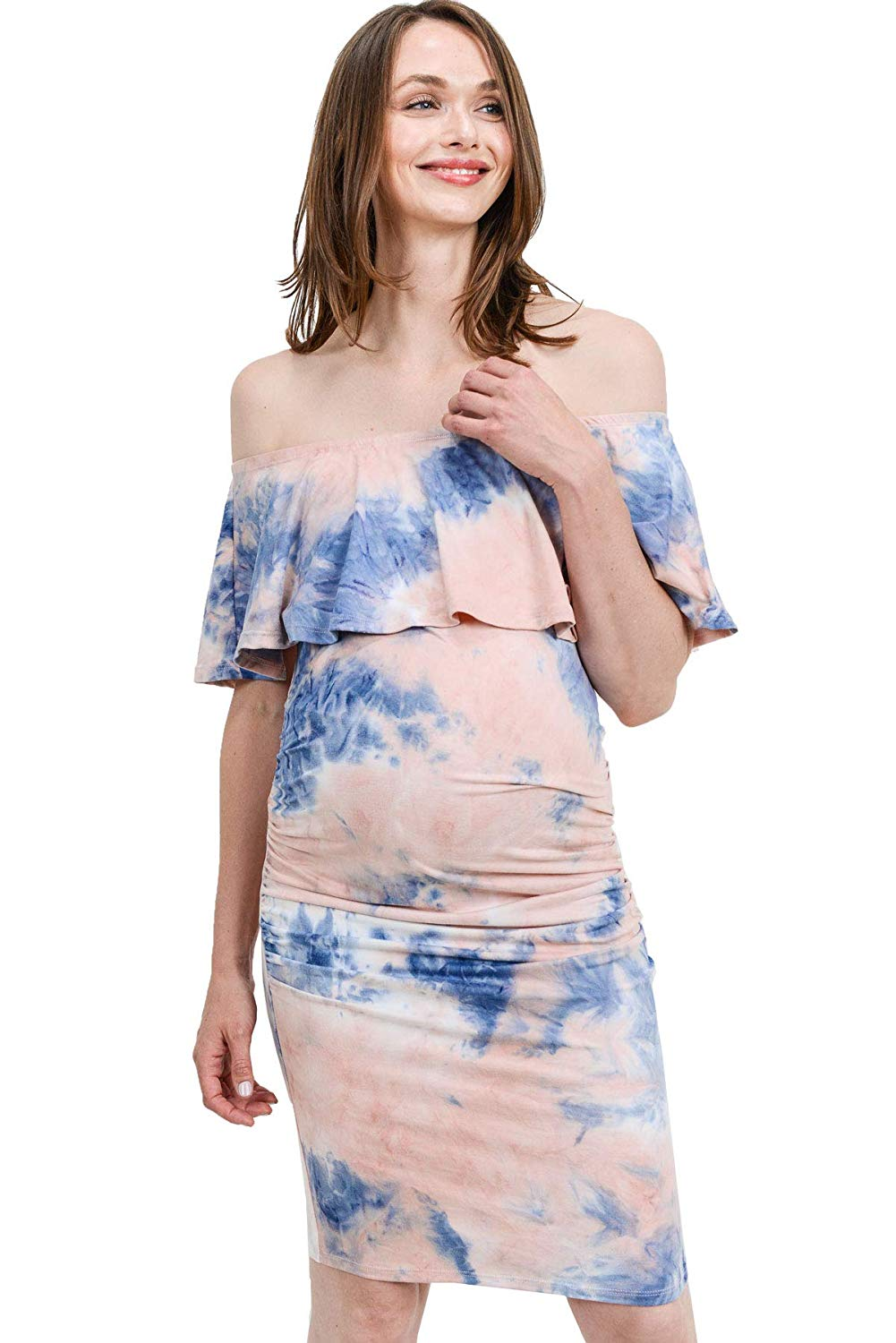 dyed ruffled maternity dress