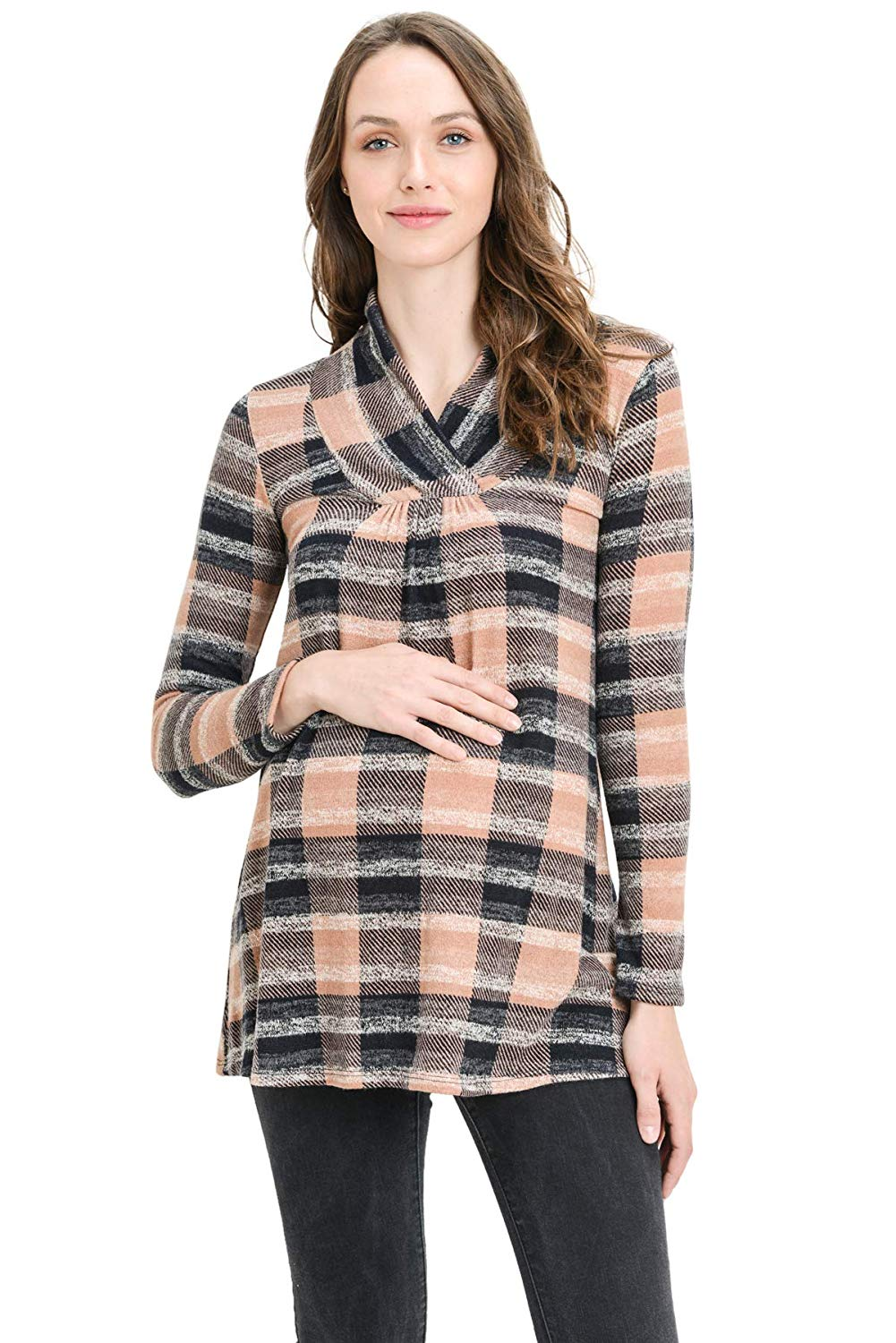 Plaid Maternity Sweater - Mommylicious