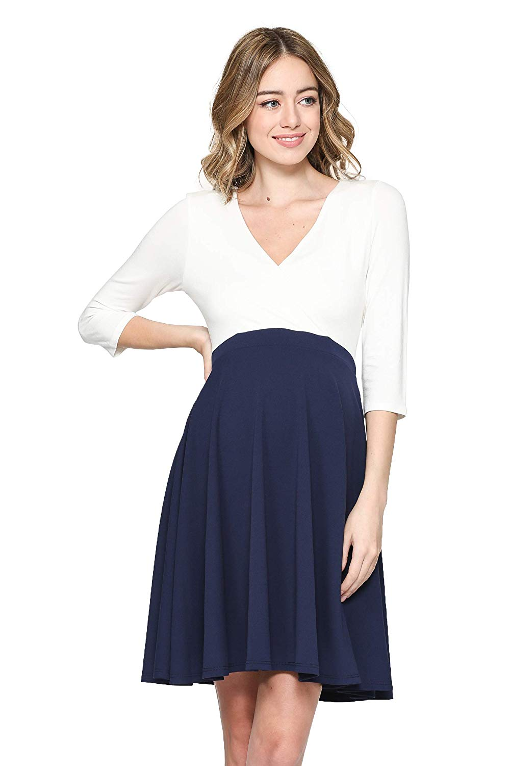 3/4 sleeves white and navy maternity dress