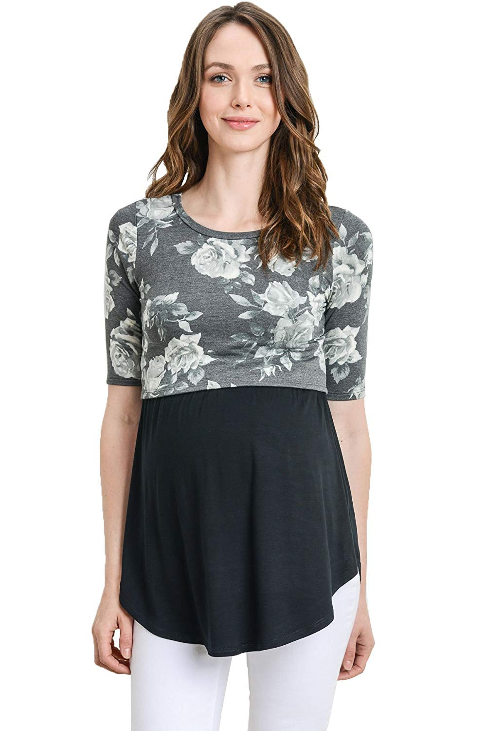 Cropped Maternity Nursing Tunic Top