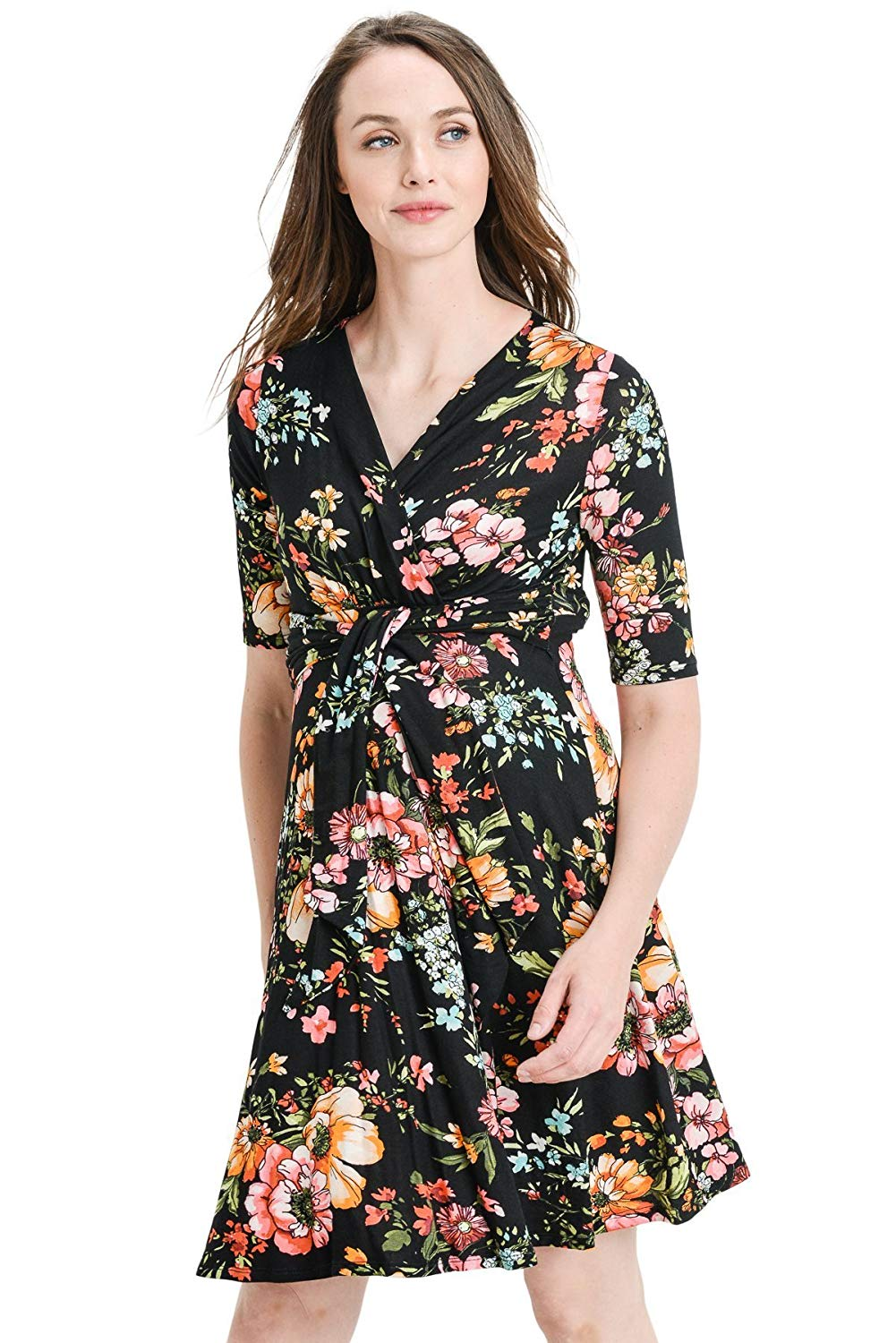 Black Floral Faux Wrap Nursing and Maternity Dress - Mommylicious