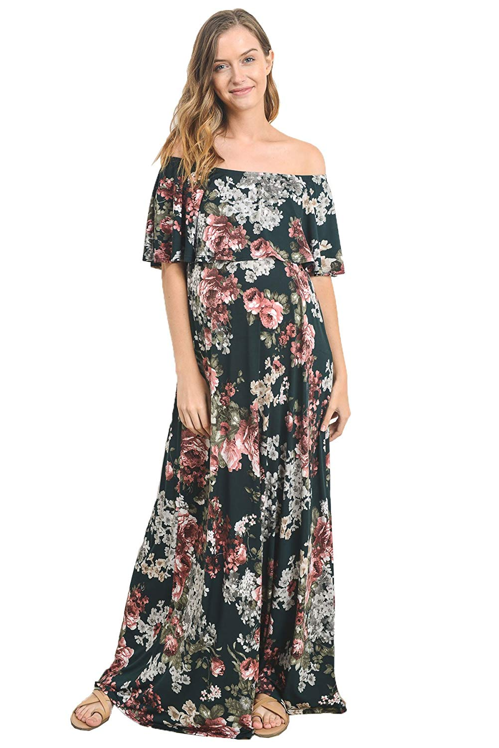 Green Floral Maternity Maxi Dress