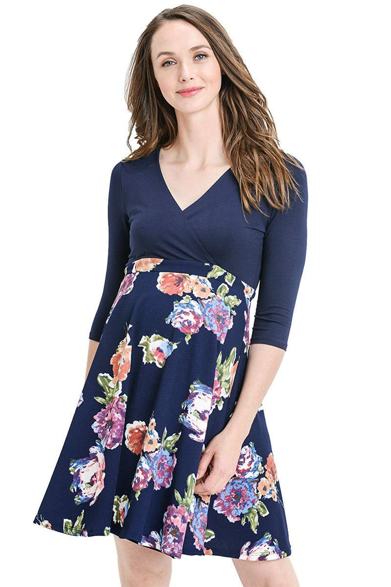 Navy Floral Maternity Dress - Mommylicious