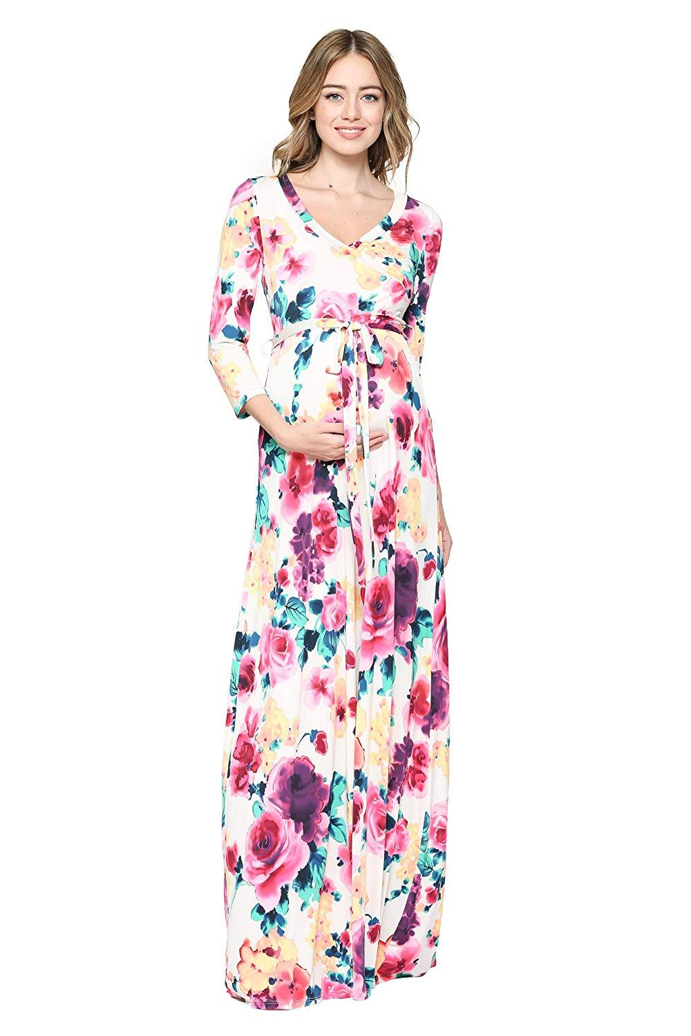 Floral Maternity Maxi Dress - Mommylicious