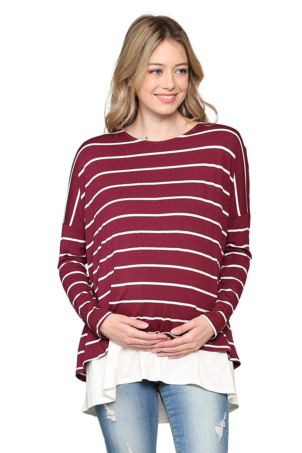 Striped Maternity and Nursing Tunic Top - Mommylicious
