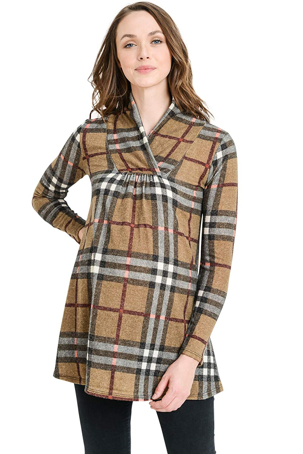 Plaid Maternity Tunic Top