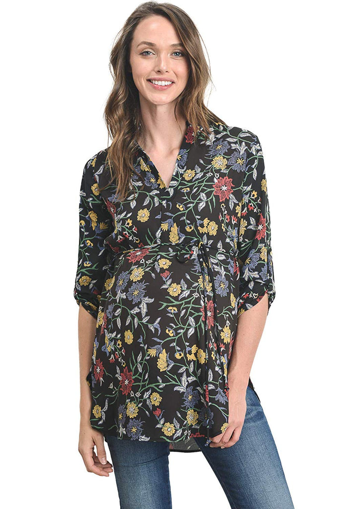 ¾ Sleeve Belted Maternity Tunic - Mommylicious