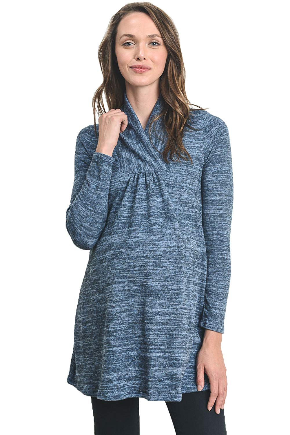 Denim Knit Maternity Tunic Top - Mommylicious