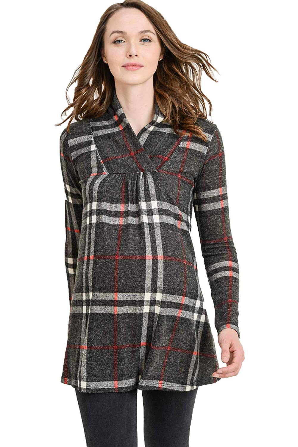 Tartan Knit Maternity Sweater - Mommylicious
