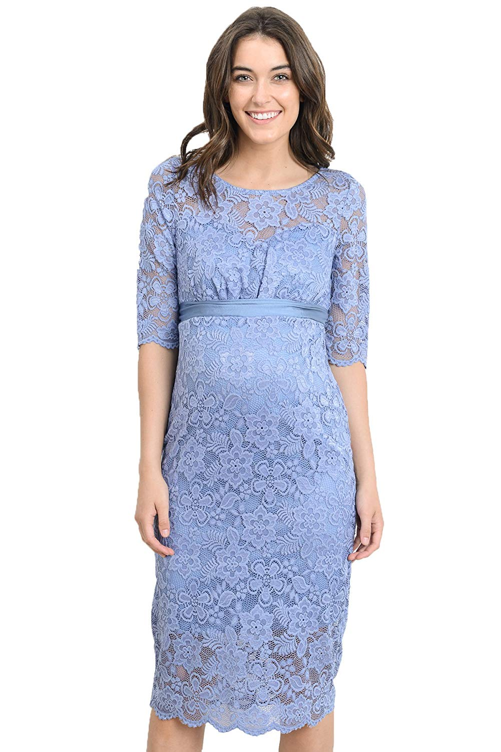 Blue Floral Lace Baby Shower Dress