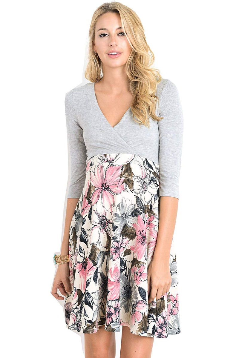 Grey Floral Midi Maternity Dress - Mommylicious