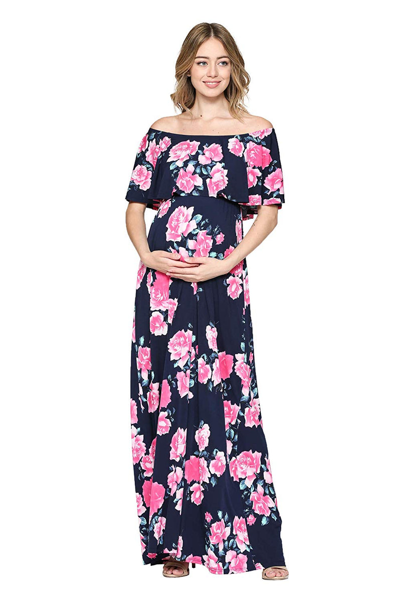 Ruffle Off The Shoulder Maxi Maternity Dress - Mommylicious