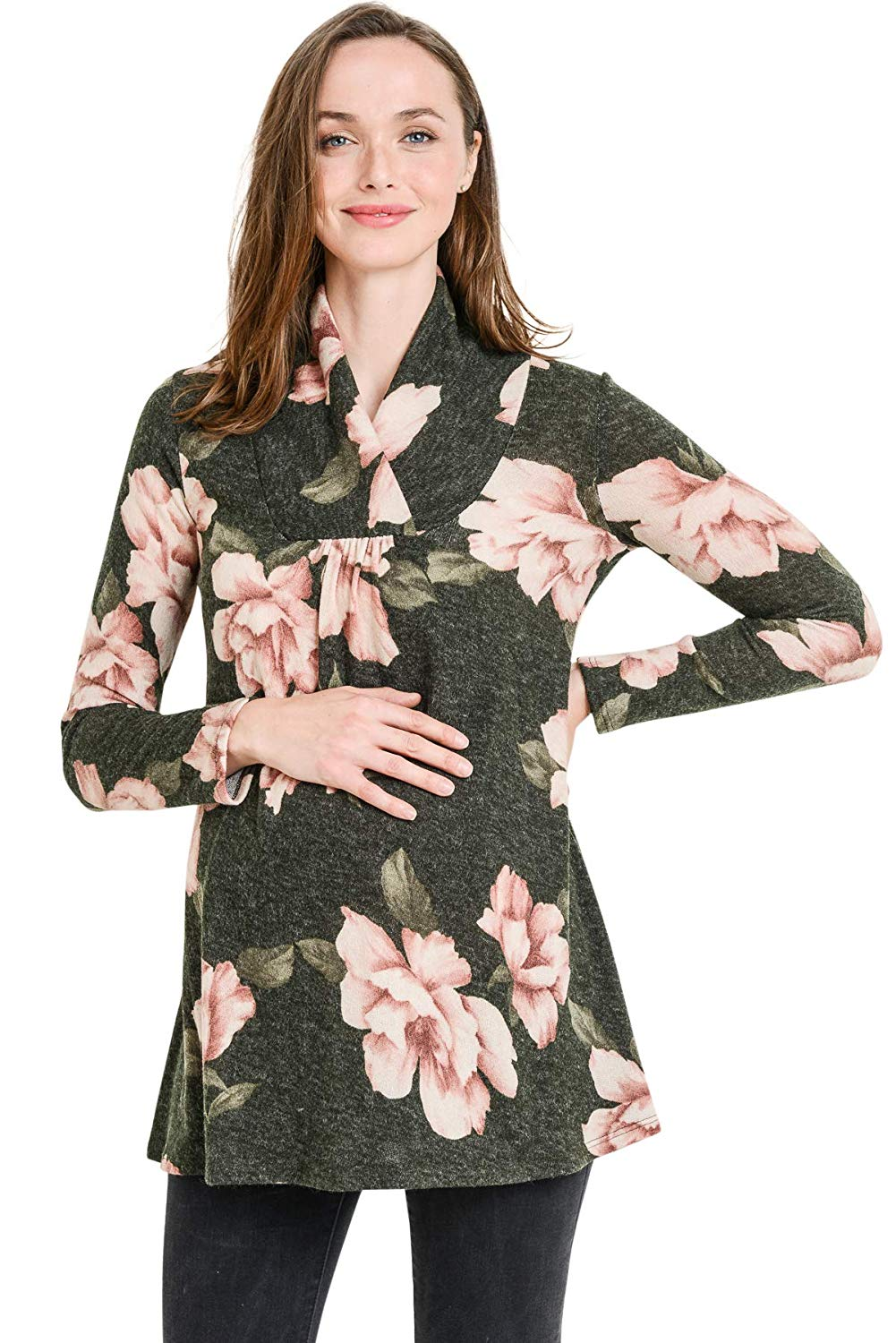 Floral Knit Maternity Tunic Top