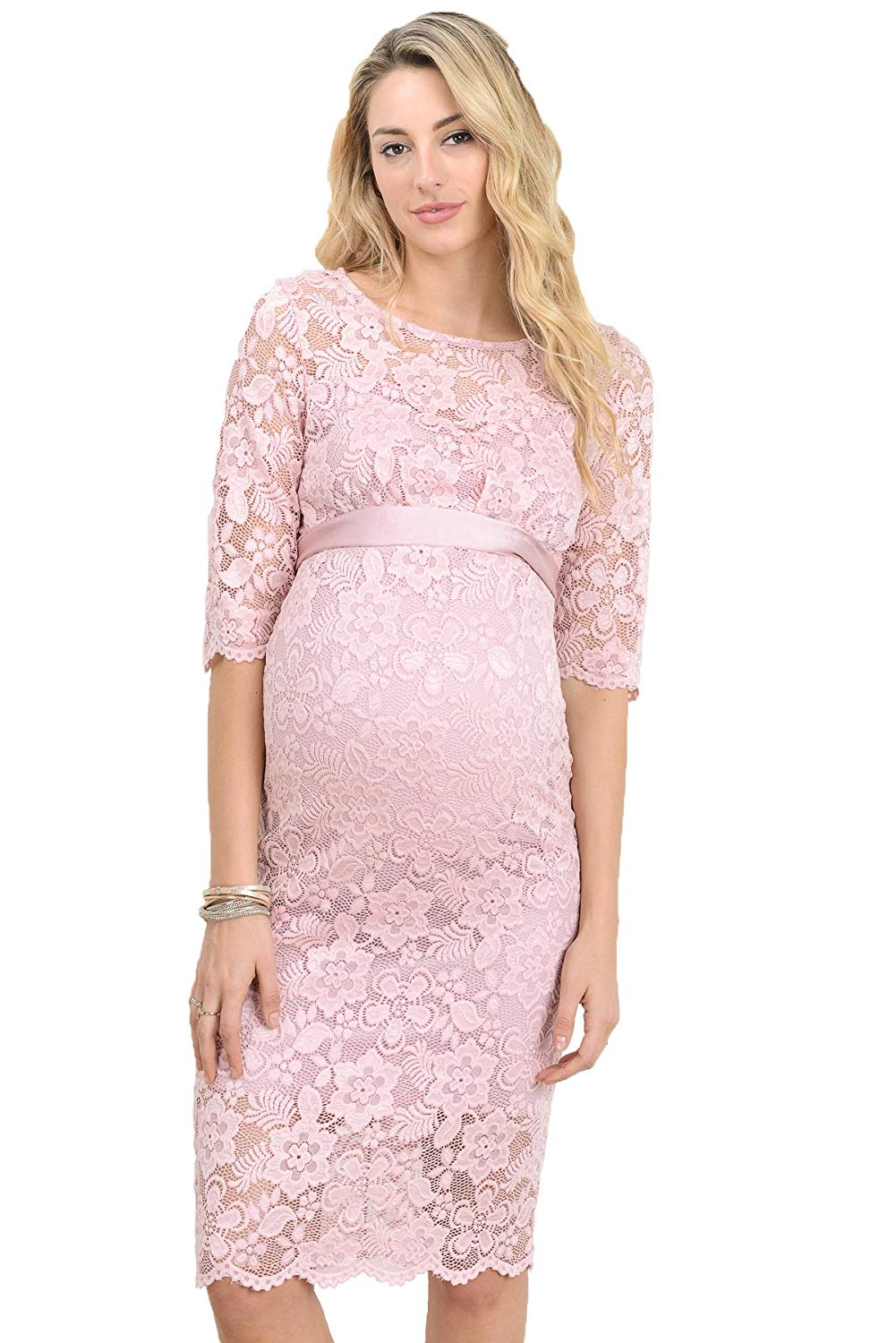 Pink Floral Lace Baby Shower Dress