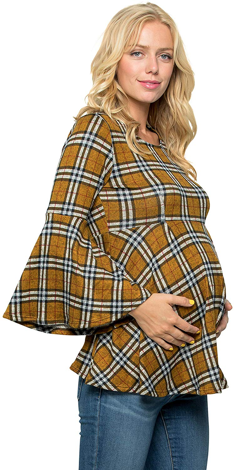 Burberry Check Bell Sleeve Maternity Tunic - Mommylicious