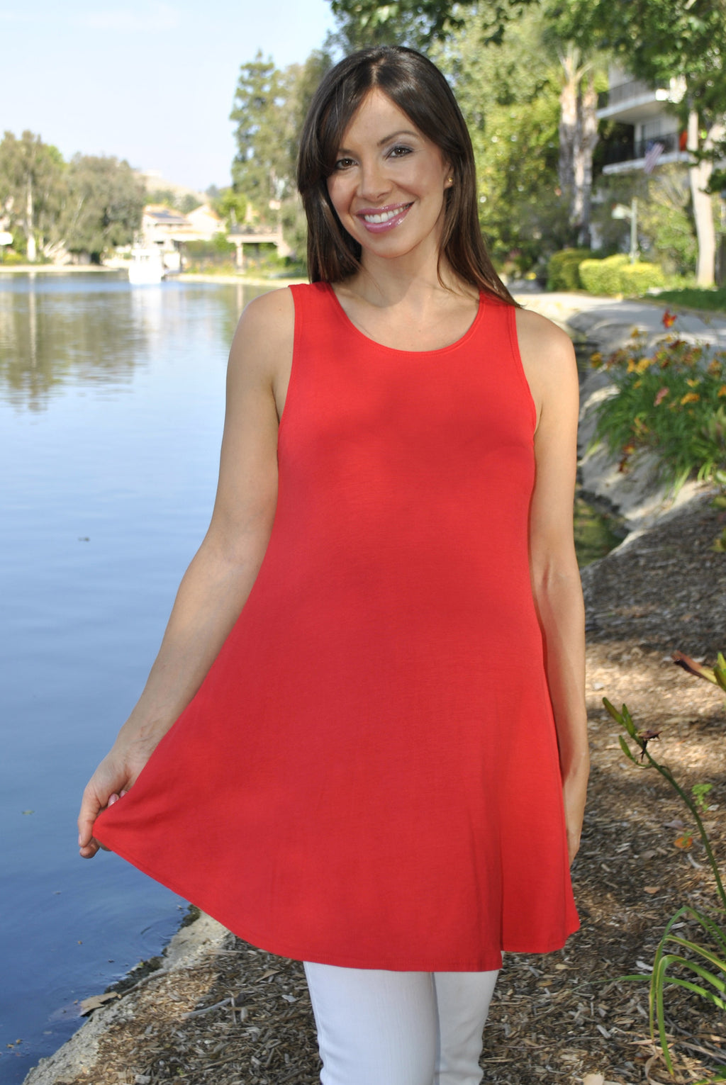 red maternity tank top