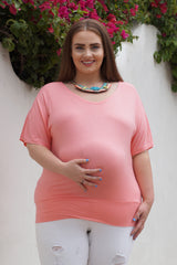 Scoop Neck Plus Size Maternity Top