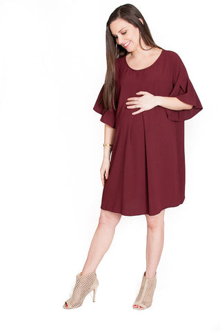 Burgandy Bubbly Babe Maternity Tunic Dress