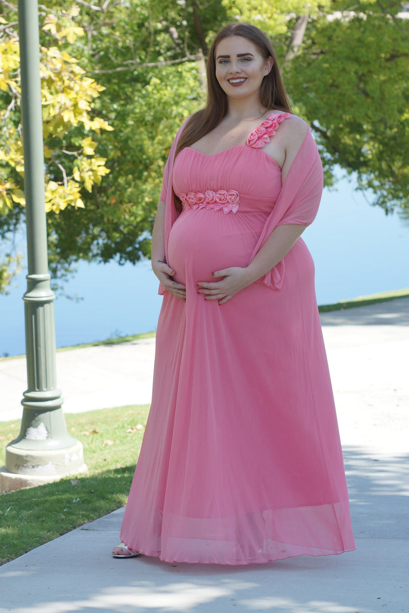 Rosette Plus Maternity Dress - Mommylicious